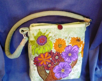 SALE  Bead embroidered green floral purse/handbag