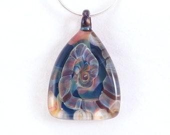 Teal Triangle Pyramid Jubilant Glass Lampwork Borosilicate Reversible Pendant Lampwork Art Glass Borosilicate On Sterling Silver