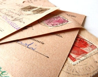 1970s Vintage hand written postcard from Italy - PINK - Post, mailing, card, office, ephemera
