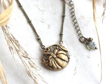 Pumpkin Necklace, Gold Pumpkin Charm, Fall Jewelry, Silver Pumpkin Pendant, Little Pumpkin Baby Shower Gift, Pumpkin Jewelry, Autumn Charm