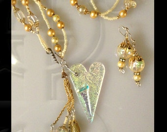 Heart of Gold, Necklace & Earrings set with vintage glass beads