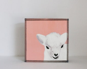 farm animal nursery, barnyard animal print, sheep art for a nursery- art block, rustic nursery, redtilestudio- dall sheep- wall art