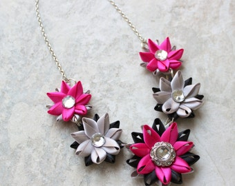 Fuchsia Necklace with Black and Silver, Fuchsia Statement Necklace, Handmade Statement Necklaces, Unique Necklaces, Ribbon Necklace