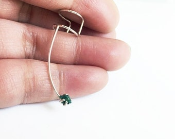 Blue Diamond Ear Cuff Sterling Silver Rough Stone Green Adjustable Prong Set