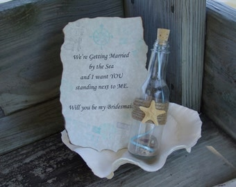 Will You Be My Bridesmaid Maid of Honor Flower Girl Message In a Bottle- Destination or Beach Wedding