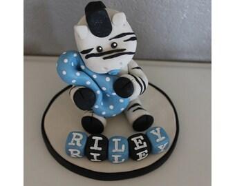 Custom Zebra Cake Topper for Birthday or Baby Shower