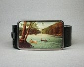 Belt Buckle Canoe on the Lake Wilderness Unique Gift for Men or Women