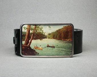 Belt Buckle Canoe on the Lake Wilderness Unique Gift for Men or Women