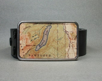 Belt Buckle Vintage Idaho Map Sawtooth National Forest Redfish Lake for Men or Women
