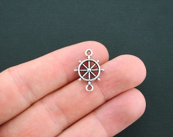10 Helm Connector Charms Antique Silver Tone 2 Sided Ship's Wheel- SC1573