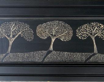 Three Ornate Trees on Black with Shadows