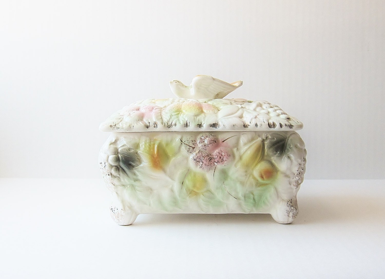 bird vintage ceramic jewelry box porcelain china