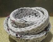 Nesting Bowls (Set of 3)  White, Purple and Black