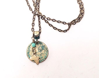 Africa Necklace, African Coin, Africa Coin Pendant Necklace,Africa Continent, A1