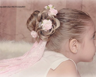 Pretty In Pink Wedding Lace Crown,Halo,Flower Crown..Great for Dressup Dates, Weddings, Tea Parties and Photo Shoots