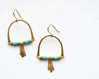 S U N Mama /||\ Small Arch Geometric Gold Turquoise Earrings