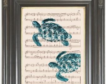 Sea turtle print on vintage dictionary or sheet music page SALE Aqua blue Dictionary art print Wall decor Digital print Marine print No 858