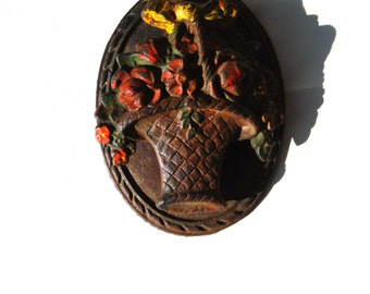 Vintage Hubley Door Knocker 1920's Basket of Flowers Cottage Style