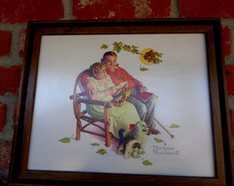 """Vintage 12"""" x 14.5"""" Framed Norman Rockwell Framed Art Print Eldery Couple Man and Woman Reading Letters on a Bench Vintage Wall Decor RA"""