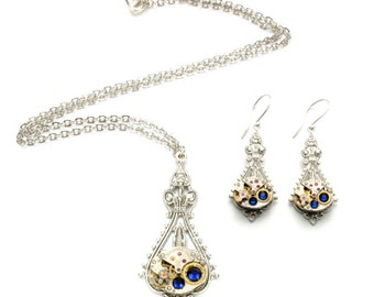SET Steampunk WEDDING Necklace Earrings BIRTHSTONE Steampunk Watch Necklace Silver Wedding Victorian SteamPunk Jewelry Victorian Curiosities