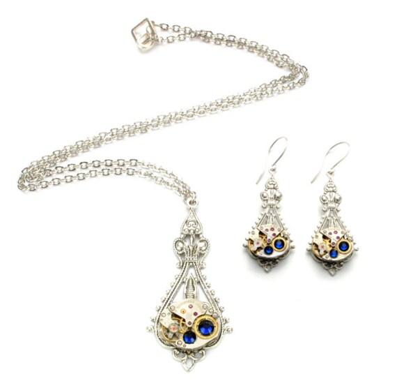 SET Steampunk Necklace Earrings BIRTHSTONE Steampunk Watch Jewelry Silver Steampunk Wedding Victorian SteamPunk Jewelry VictorianCuriosities