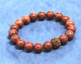 Men Beaded Bracelet Rudraksha Jasper Chakra Mala Bracelet Recovery Farewell Spiritual Inspirational Gift for Buddhist Teacher Son Mala Beads