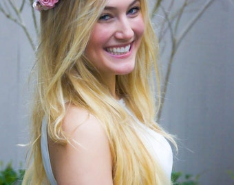 Red Rose Flower Crown - Bohemian Red and Pink Rose Flower Crown Headband