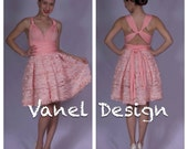 Prom Dress - Short Pink Lace Convertible Dress - One Dress, Fifteen Ways to Wrap!