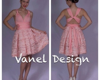 Prom Dress - Short Pink Lace Convertible Dress - One Dress, Fifteen Ways to Wrap!