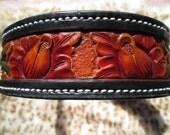 X-Large dog collar , leather dog collars , custom collar , designer collar floral bouquet , XXLarge collars