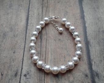 Bridal Jewelry, Pearl Bracelet, Pearl Bridal Jewelry, Wedding Bracelet, Pearl Wedding Jewelry, Bridesmaid Jewelry Pearl
