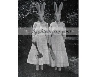 Halloween Decor, Creepy Rabbit Twin Sisters Collage Print, Black and White Wall Decor, 8.5 x 11 Inch Halloween Art Print