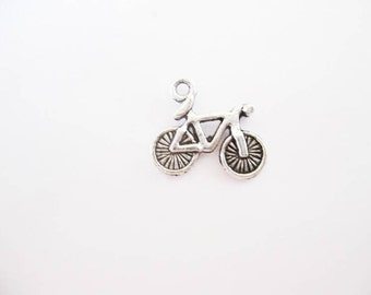 10 Bicycle Charms in Silver Tone - C2053