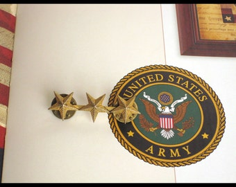 Military Brass Stars / Bar Pin with Three Stars / US Army Korean War Souvenir Collectible Memorabilia Insignia