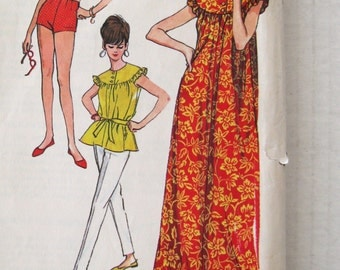 1960s Muu Muu Dress Bathing Suit Top & Pants Pattern, McCalls 8228, Summer Beach Cover Up Separates Sewing Pattern Junior Size 9, Bust 30.5