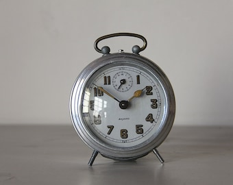 French Vintage Alarm Clock Bayard Aluminium Convex Glass Face