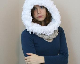 PDF DIGITAL PATTERN:Crochet Hooded Cowl Pattern,Crochet Cowl Hood Pattern,Crochet Snood Pattern,Hooded Scarf Pattern, Cowl Scarf,Ski Hat
