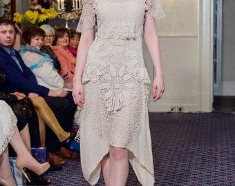 Cream lace wedding dress, lace bridal dress, vintage lace wedding dress, boho bridal dress, vintage lace bridal dress
