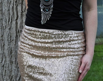 Matte Gold Mini Sequin Skirt - Stretchy, beautiful, fun mini skirt (Small, Medium, Large, XLarge)
