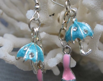 Turquoise Umbrella and Heels Caught in Summer Rain Dangling Earrings