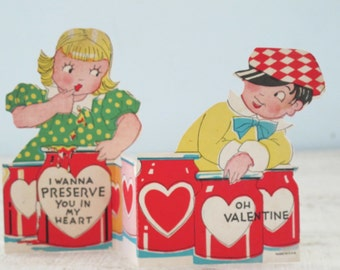 Vintage Valentine Card Boy and Girl Preserve