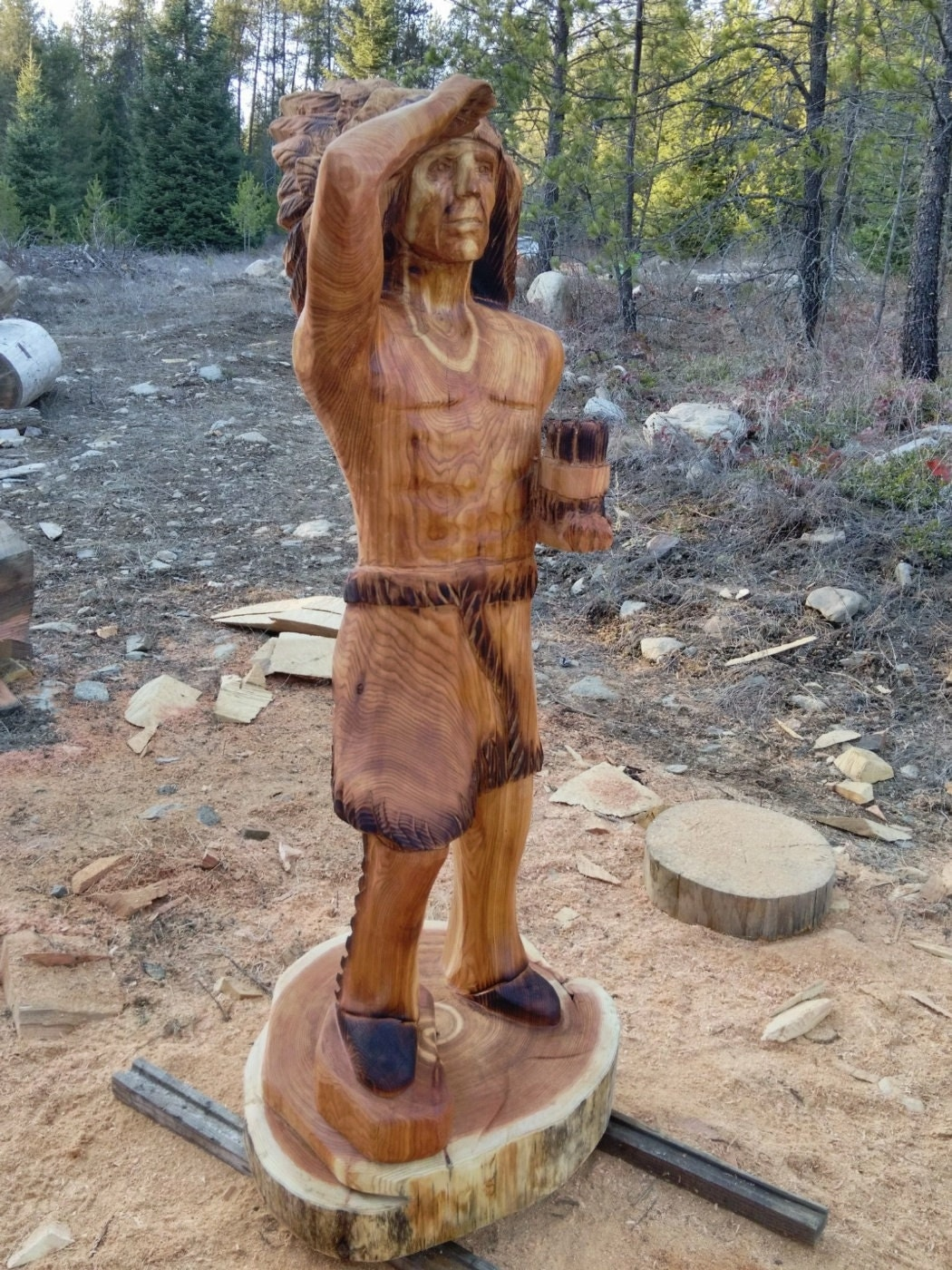 Cigar store indian chainsaw carving sculpture by