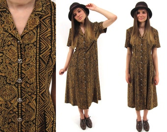 On Sale - Vintage 80s Tribal Dress, Midi Dress, Ethnic, Boho Dress, Out of Africa Dress Δ size: sm / md