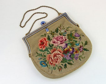 Vintage Petit Point Purse 1930's Floral Hand Bag with Enameled Decorative Clasp