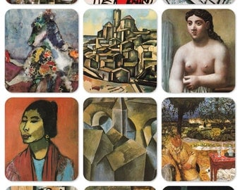 20th century French Painting: Bonnard, Matisse, Derain, Leger, Picasso, Braque, Chagall. Set of 12 Vintage Czech Prints, Postcards -- 1989