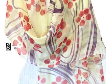 Handpainted Silk Scarf Shawl, ETSY, Gift for her, Holiday gift, Pastel Yellow and Red Japanese Plum Blossoms Scarf, Takuyo, 22x90 inches.