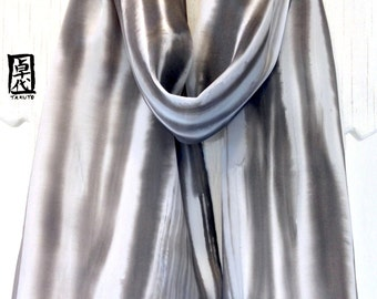 Silk Scarf Hand painted, Japanese Printed Scarf, Black and Gray Scarf, Black and Gray Zen River scarf, Silk Scarves Takuyo,  11x60 inches.