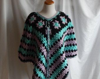 Crochet Poncho Shawl - Granny Squares in Lavender Purple, Mint Green and Black - M/L