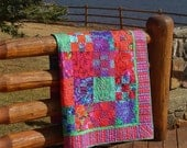 COLORADO COZY-- in this Beautiful Kaffe Fassett Inspired ROSY Quilt Design in greens, blues, purples and magenta