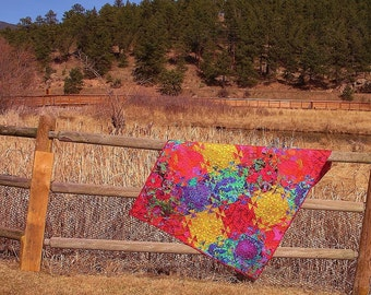 Shimmering Triangle Quilt--Designed by Australian Textile Artist, Jenny Bowker, in Kaffe Collective Fabrics